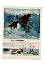 VINTAGE 1966 JOHNSON OUTBOARD MOTOR SNOW MOBILE FUN MOUNTAINS JOSEPHINE AD PRINT