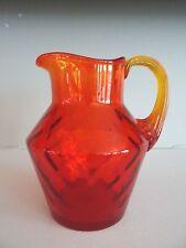 1960's FENTON Art Glass LATTICE OPTIC Tangerine Orange Pitcher w/ Label