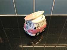 Pink White Campervan VW Egg Cup & Salt Shaker Exc Cond Collectable Present Gift