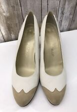 Delman White Beige Suede Classic Pump Heels 8 Spain Vintage RARE!