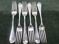 6 Vintage Naylor & Co Dinner Table Forks Old English pattern silver plated