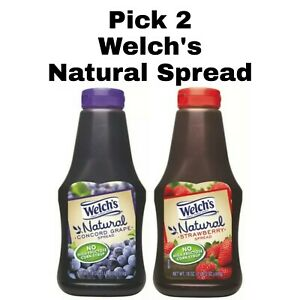 Pick 2 Welch's Natural Spread Bottles: Concord Grape or Strawberry