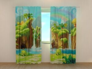 Window Curtain Printed with Waterfall and Rainbow Image Wellmira Ready Made