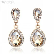 Beautiful Gold Plated Champagne Crystal Drop Party Gift Bridal Wedding Earrings