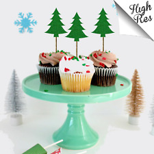 CHRISTMAS TREE CUPCAKE STAND-UP CAKE TOPPERS