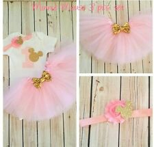 7daef7ce0 first birthday outfit ,Minnie Mouse outfit,Pink And Gold outfit,Handmade