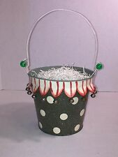 VTG Easter Glittery Green Metal Bucket ~ Dots, Bells, Beads & Collapsible Handle