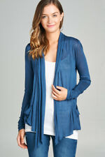 Women's Cardigan Long Sleeve Flyaway Lightweight Open Front Draped w/ Pockets