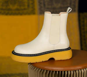 Women's Leather Round Toe Pantshoes Winter Non-slip Rubber Sole Ankle Boots