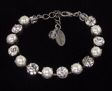 Bridal Cup Chain Pearl Crystal Bracelet made w/ white pearl Swarovski Crystals
