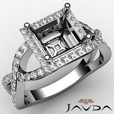 Princess Diamond Filigree Engagement Halo 0.68Ct Semi Mount Ring 14k White Gold