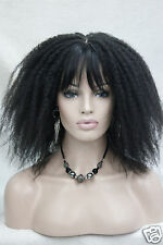 Afro Kinky Curly Medium Length Off Black 2# Wig with  Bangs Senegal Havana style