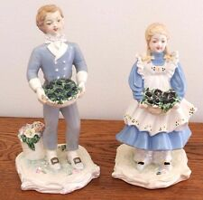 "Carol Price ""Saturday's Child"" Boy and Girl Figurines Chalkware - Vintage"