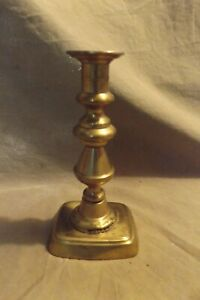 "Antique Lighting 19th C ~7"" Brass Columnar Candlestick Beehive Center Losses"