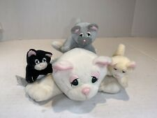 Pound Puppies 1995 Purries Lot Mom Cat & 3 Baby Kittens-Black-Gray-Cream-Galoob