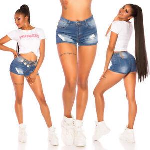 Push Up Jeans Shorts Damen Jeans kurz zerrissen Sommer Pants Damen Kurze Hose