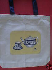 Tote Bag-Delft Modern Teapot and Cup/Saucer on Yellow