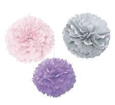 3 x Large Paper Pastel Fluffy Hanging Pom Pom Wedding Decoration Pink Grey Lilac