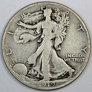 1919-D United States Walking Liberty Half Dollar - F Fine Condition