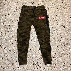 Brooklyn Cloth Pants Mens Large Green Red Logo Jogger Sweat Pants Warm Up Casual