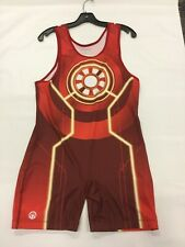 """Sublimated Mens Singlet """"Reactor"""" Red (XL) 190-200Ibs #443"""