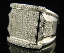 Men's Diamond 14K White Gold Over Big Face Pinky Engagement Band Ring 3.40 Ct