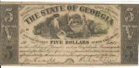 The State of Georgia 50.00 Obsolete Note 1864 b Original Milledgeville