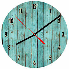 """8"""" WALL CLOCK - Wood 1 Teal Turquoise Image of weathered boards printed glossy"""