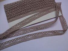 0,99€/m-Französische elastische Spitzenborte in taupe,beige 3m x 1,5cm