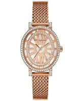 Wittnauer Women's WN4039 Quartz Crystal Accents Rose Gold Mesh Band 28mm Watch