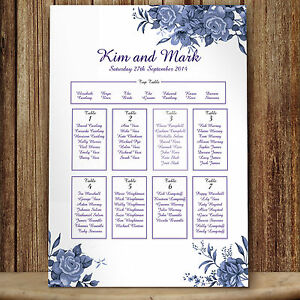 Personalised Wedding Seating Table Plan ~Canvas~Board~Paper~  Blue Roses