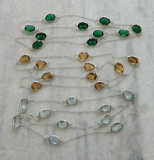 Dazzling! Chrome Diopside,Aquamarine & Citrine Quartz Silver Plated 3 Pcs Chain
