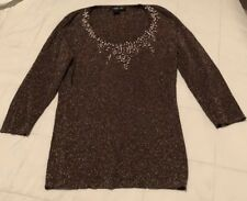 August Silk Copper Sweater Pearl Neckline Sz L NWOT