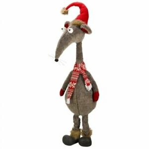 Large Christmas Alpha Rat Soft Plush Weighted Cartoon Style Rat Toy Decoration
