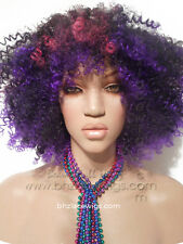 Full cap kinky curly wig pink purple Partii wig full cap beyonce wig rihanna wig