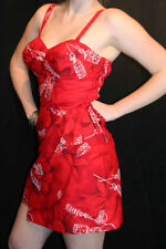 S Vintage 60s BULLET BRA SARONG WRAP SKIRT RED PARADISE HAWAII LUAU MINI DRESS
