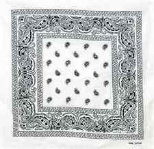 "Wholesale Lot 6 22""x22"" Paisley Black and White Bandana"