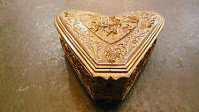 Amazing Antique french heart shaped gilt bronze jewelry box