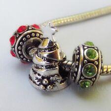 Christmas Tree Large Hole Rhinestone Beads For European Charm Bracelets