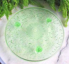 GREEN VASELINE DEPRESSION GLASS 3 TOED CAKE STAND OR PLATE FLORAL DESIGN