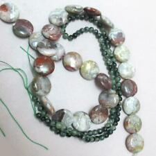 """ONE, 15.5"""" strand of Laguna Agate, coin Beads, and 1 strand Green Jade rounds"""