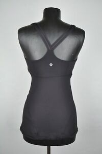 Lululemon Women's Sz 6 or 8? Long Black Tank Top Built In Sports Bra Cross Back