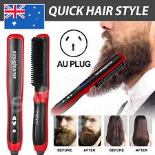 LCD Electric Quick Heated Beard Straightener Brush Hair Comb Curling Curler Show