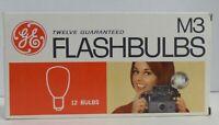 GE M3 Twelve (Box of 12 NEW) Clear Flashbulbs Camera Flash Bulbs Vintage