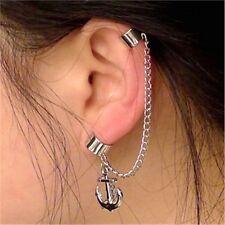 Women Fashion Punk Rock  Chain Anchor Tassel Dangle Cuff Wrap Earrings Ear Clip