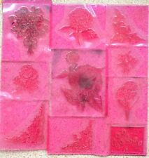 Debbie Moore Designs New Pink Acrylic Stamps Flowers Used & New