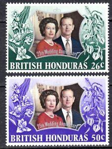 BRITISH HONDURAS #306-307 MNH SILVER WEDDING QUEEN ELIZABETH II & PRINCE PHILIP