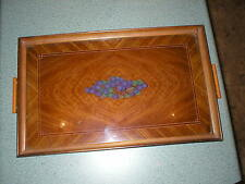 Vintage Hand Painted Purple Grapes Wood Wooden Tray W/Handles Glass Top