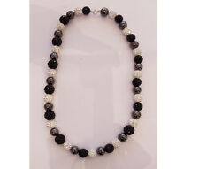 "Crystal Pave Black and White Ball and Bead Necklace 17"" Long 10.0 - 11.50 mm"