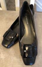 Liz Claiborne Women's 7.5 Brittney Black Leather Shoes With Large Buckle   T2